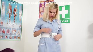 Blonde Nurse Gloves Handjob