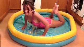 Eggs in her swimsuit  strange but hot