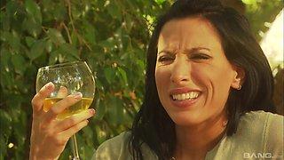Romantic outdoor lovemaking session with brunette Lezley Zen