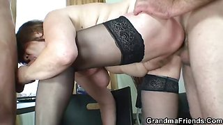 Old office bitch takes two cocks