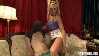 Hot transsexual seduction with cumshot