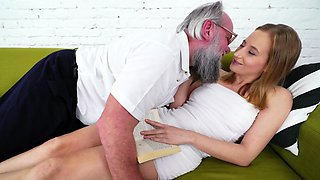 Old perverted man forced young girl to satisfy him