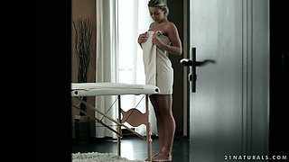 Sexy chick Christen Courtney gets her pussy fucked on the massage table