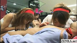 Subtitled crazy Japanese office blowjob with cumshot