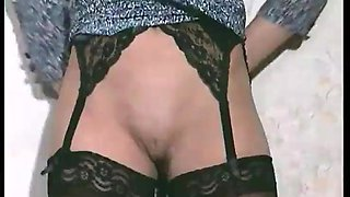 Retro girl masturbates alone on the couch using her fingers and dirty mind