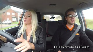 huge tits blonde gets creampie in car clip