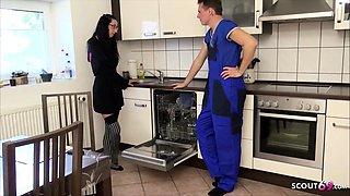 German Anorexic MILF Stella Star Seduce to Fuck by Repairman