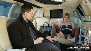 Stunning blonde angel Ria Sunn fucks horny guy in his car