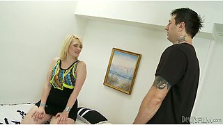 Hefty figured sexy blondie sucks long penis of her slim boy
