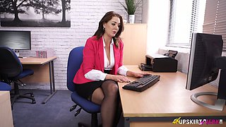Slutty secretary ion stockings Sapphire shows off her tasty looking pussy upskirt