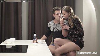 Step brother enjoys some kitchen fantasy with Lara I