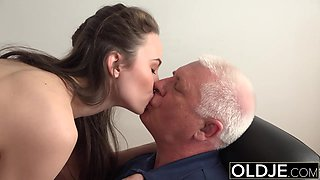 Fucked by Old Man Office Teen took Deepthroat Blowjob