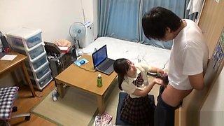 Amateur Japanese AV Model in school uniform gives a blowjob