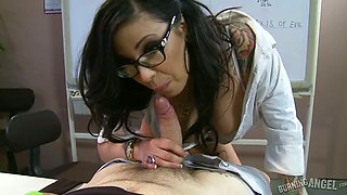 Stacked brunette slut in  glasses performs awesome BJ in the office