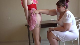 Vaginal fisting for a pregnant patient. Lesbians love medical fetish games. The doctor fucked milfs hairy puffy pussy on the table.