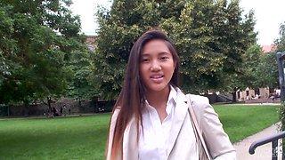 Mai Thai is a horny Asian babe seduced for a threesome
