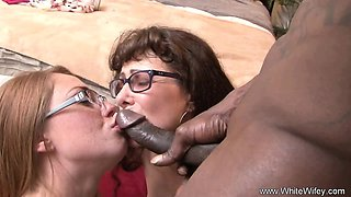 Sisters With Glasses BBC Threesome Amazing Cumshot Ending