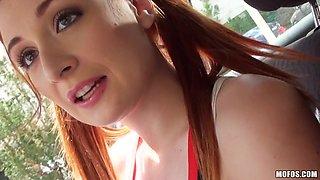 Redhead Cheerleader Gets A Ride