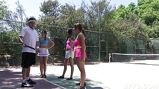 Tennis ends in naughty fun on the court