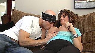 Mega busty brunette mom Deauxma takes on big sausage of Johnny Sins