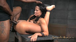 restrained london gets fucked hard