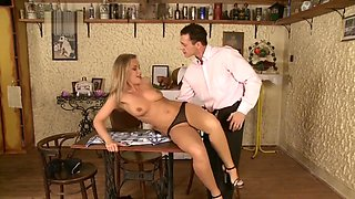 Colette gets sex on table and jizz on tits