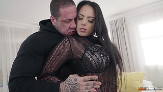 Brunette hottie in stockings Katrina Moreno fucking a tattooed stud