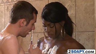 hot black masseuse tatiyana foxx gives perfect blowjob