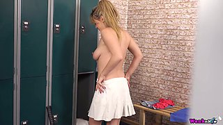 Well stacked tennis babe Brook Little shakes her big boobs in the locker room