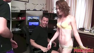 Small Fitness Girl Dominates Two Men - 1 of 3