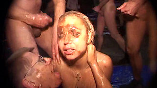 Blond slut in messy and golden shower fun