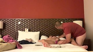 Drunk wife left alone with massage guy gets taken advantage of and fucked!!