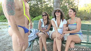 Outdoors CFNM Action with Kinky Amateur Babes Getting Fucked