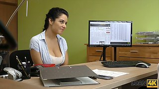 Topless slutty brunette Alex provides an office clerk with a good blowjob