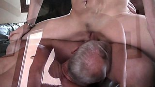 Horny mature couple invites a stud for a bisexual threesome