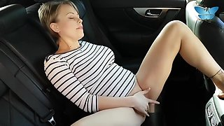 Amateur milf gets squirt orgasm from public masturbation in the car