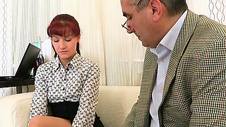 Excited old teacher is humping babe's taut anal tunnel