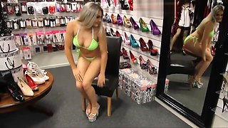 Blonde Stripper Heels Feet and Bikini