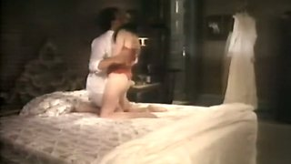 Sex of two lesbians and blowjob by the brunette on the bed