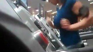 Busty teen running at gym