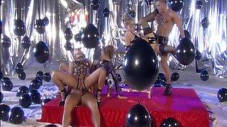 Best pornstars Blond Panni and Sophie Evans in fabulous blonde, latex sex clip