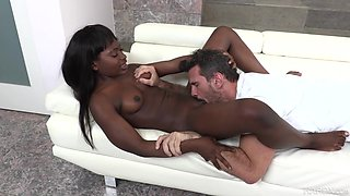 Exclusive interracial on the couch with Noemie Bilas