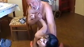 Very old fat man use young maid very hard