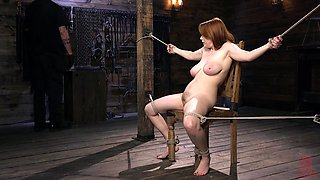 Redhead whore Penny Pax ass and pussy abused in a BDSM bondage session