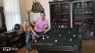 Laura Bentley bends over a pool table for a nasty fuck