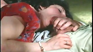 Curly lady is happy to ride her vintage BF on top after blowjob