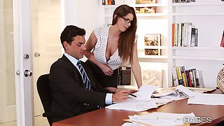 Chesty secretary in glasses gets slammed by her boss in the office