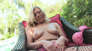 Blonde MILF Summer Day fingers her pussy while getting ass fucked