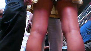 Hot young babes with perfect legs voyeur upskirt compilation