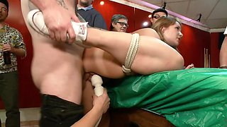 Tied up submissive lovely fucked in the tight vagina from behind